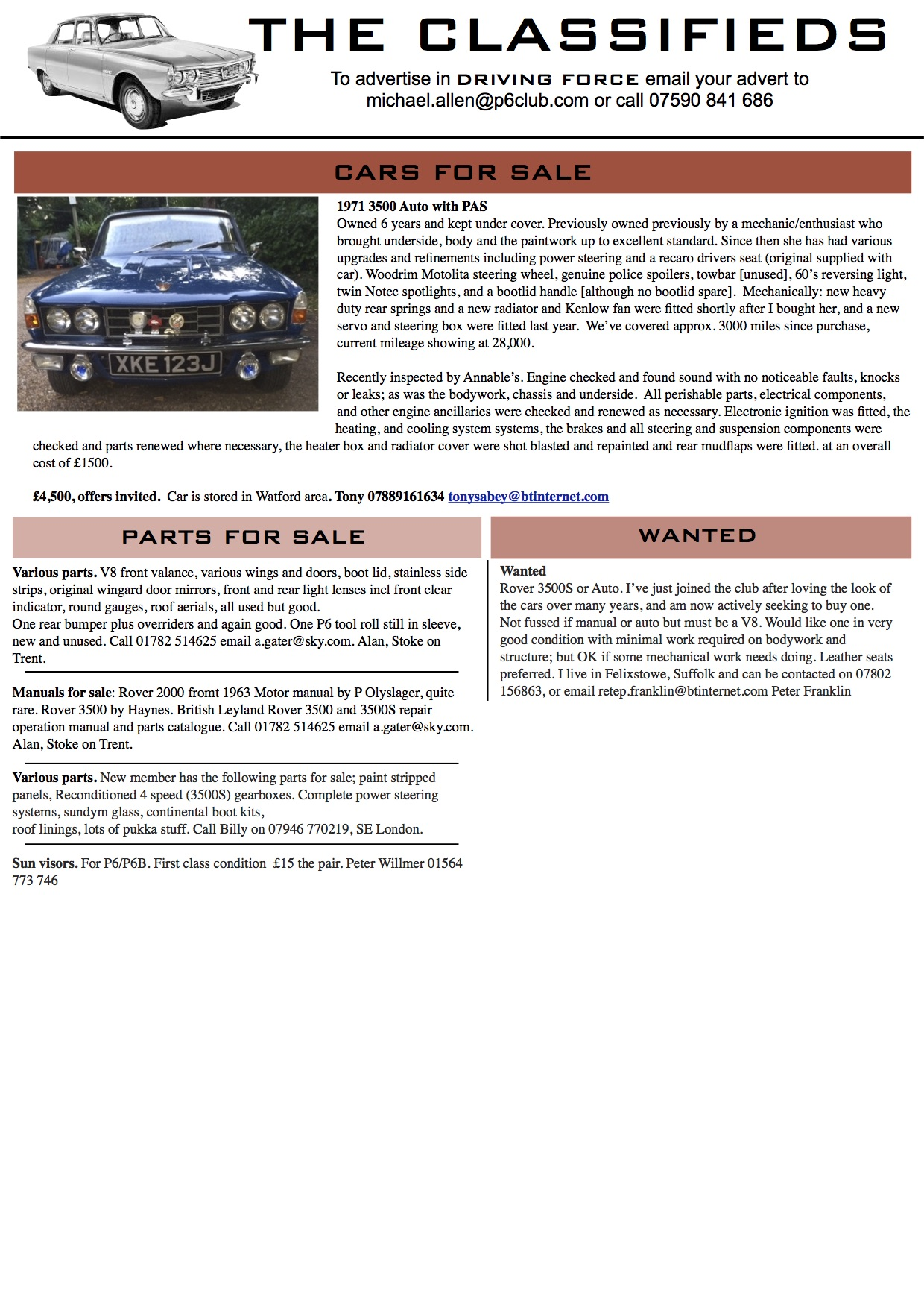 Rover P6 Club Classifieds